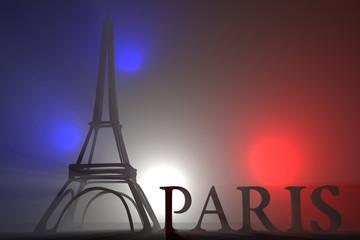 Torre Eiffel 3D Paris e luci volumetriche colori Francia