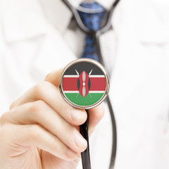 National flag on stethoscope conceptual series - Kenya