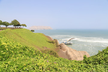 Cliff at Miraflores District in Lima city, Peru near Pacific oce