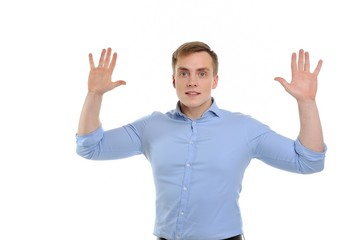 Attractive young man with gestures indicating that he is honest.