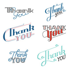 Set of various drawn vector Thank You lettering