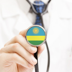 National flag on stethoscope conceptual series - Rwanda