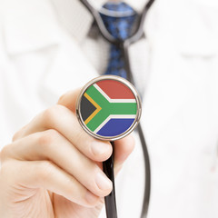 National flag on stethoscope conceptual series - South Africa