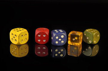 playing dice on black