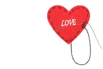 Broken heart and thread iisolated