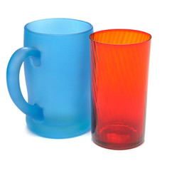 Frosted blue glass mug and Red glass beaker