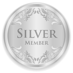 Silver member badge with silver vintage pattern