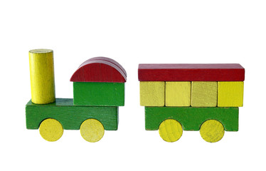 Steam train of wooden blocks, traditional toy on white