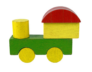 Steam locomotive of wooden blocks, traditional toy on white