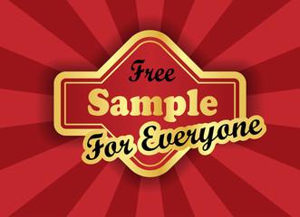 Free sample  label in retro style