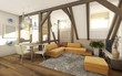 Living Room Attic In Rustic Style