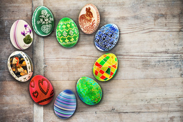 Easter eggs with various patterns