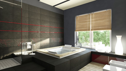 Black Bathroom With Red Stripes
