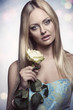 stunning woman with white rose