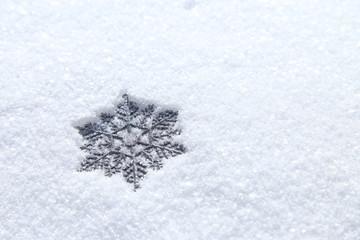 雪の結晶 雪の上