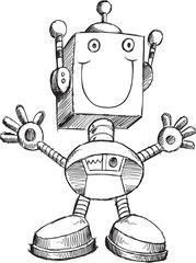 Doodle Sketch Robot Vector Illustration Art
