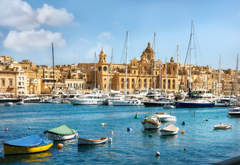 View of town and harbour. Valletta. Malta
