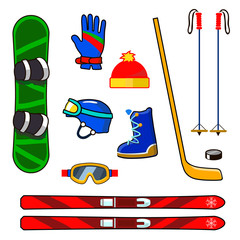 Winter sports equipment icons set