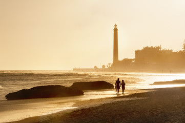 Lighthouse at sunset. Maspalomas beach.Gran Canaria