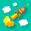 Flat rocket icon. Startup concept. Project development. - 78699151