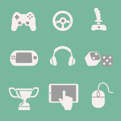 game icons set white background