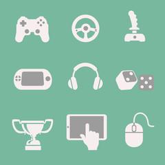 game icons set white background