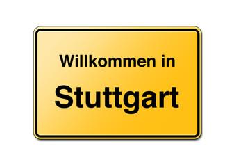 Willkommen in Stuttgart Schild
