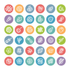 Set of Flat Round Icons with Bacteria and Germs