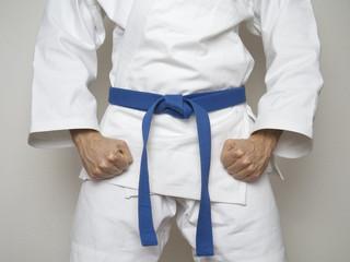 Kampfsport Kämpfer blauer Gürtel Anzug