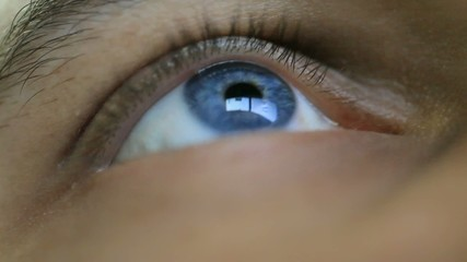 Close up of mans eye looking on computers monitor. HD. 1920x1080