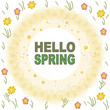 Elegant yellow frame with spring flowers welcome spring card