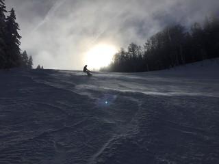 snowboarder in black forest, feldberg.
