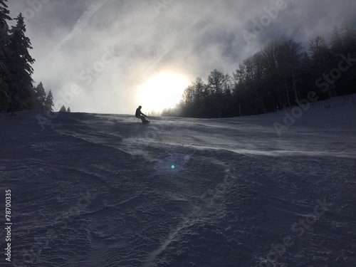 canvas print picture snowboarder in black forest, feldberg.