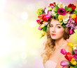 canvas print picture - Spring woman portrait. hairstyle with flowers