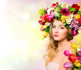 Spring woman portrait. hairstyle with flowers