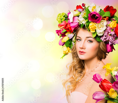 canvas print picture Spring woman portrait. hairstyle with flowers