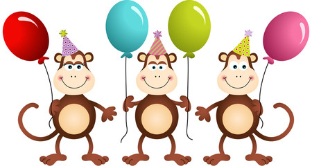 Birthday monkeys with balloons