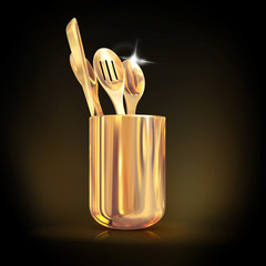 Golden  cutlery on a black background.