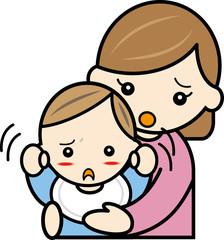 むずがる赤ちゃんとママ