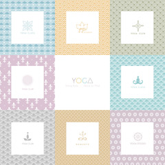 Set of logos and patterns for a yoga studio