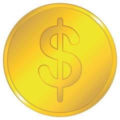 Dollar Gold Coin isolated on white - Vector Icon