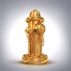 Fire hydrant on grey  background.