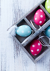 Colorful dotted easter eggs