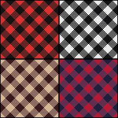 Lumberjack plaid diagonal seamless pattern set.