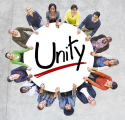 Aerial View of People and Unity Concept