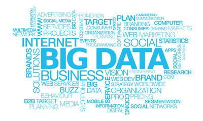 Big data marketing word tag cloud blue text illustration