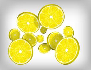 Slices of fresh citric lemon falling and flying