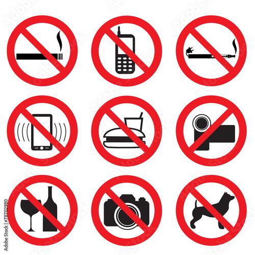 Zdjęcia na płótnie, fototapety, obrazy : zakaz fotografowania, filmowania, palenia