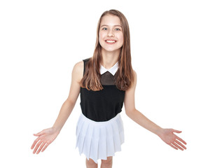 Young fashion girl welcoming isolated. Top view