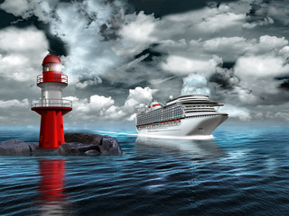 Leuchtturm mit Kreusfahrtschiff am Abend